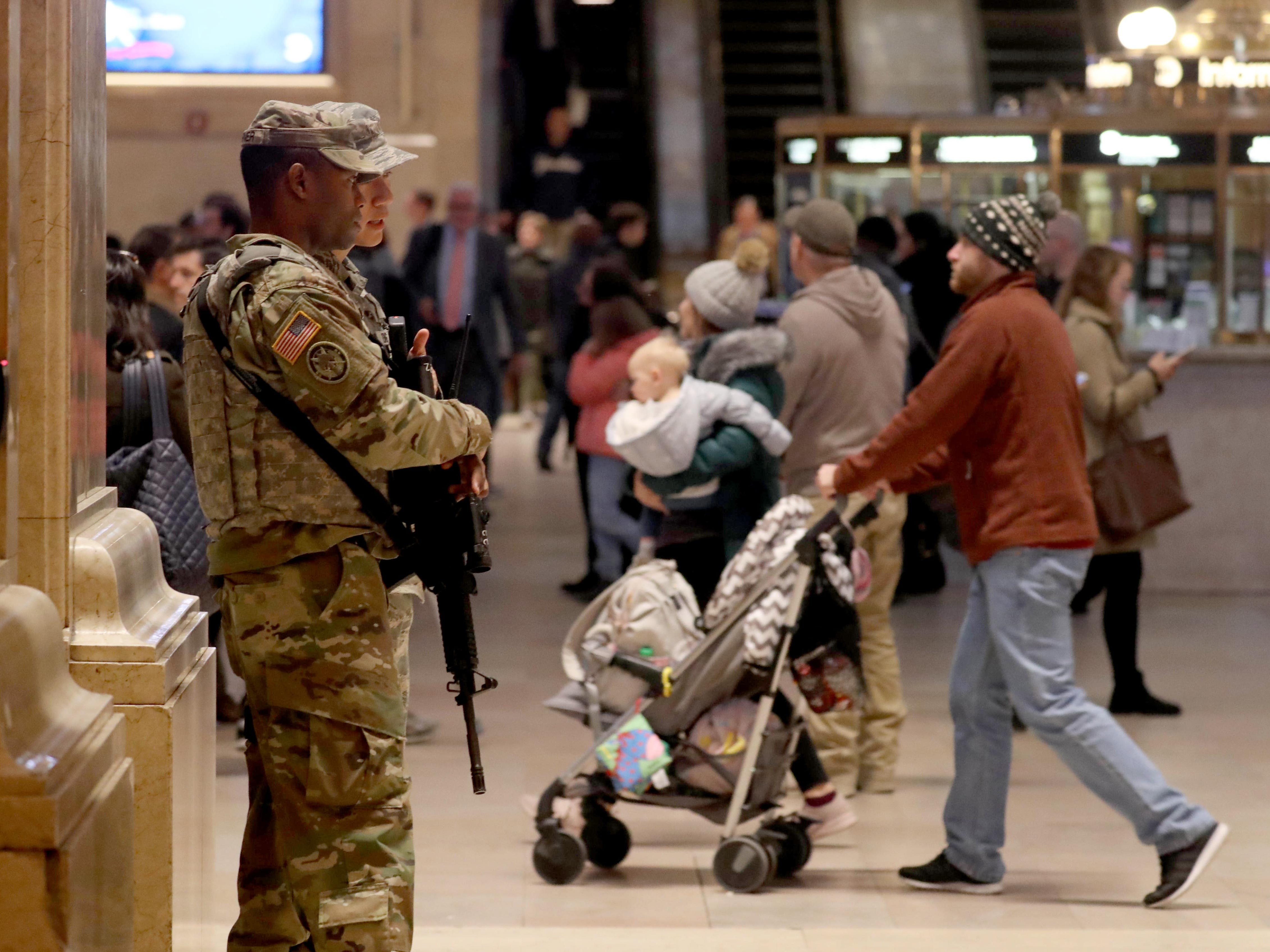 Members of the National Guard patrol Grand Central Terminal in New York, Oct. 24, 2018.
