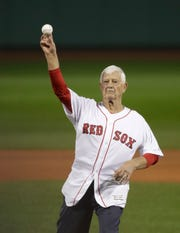 Oct 23, 2018; Boston, MA, USA; Former Red Sox player Carl Yastrzemski throws out the ceremonial first pitch before Game 1 of the World Series at Fenway Park.