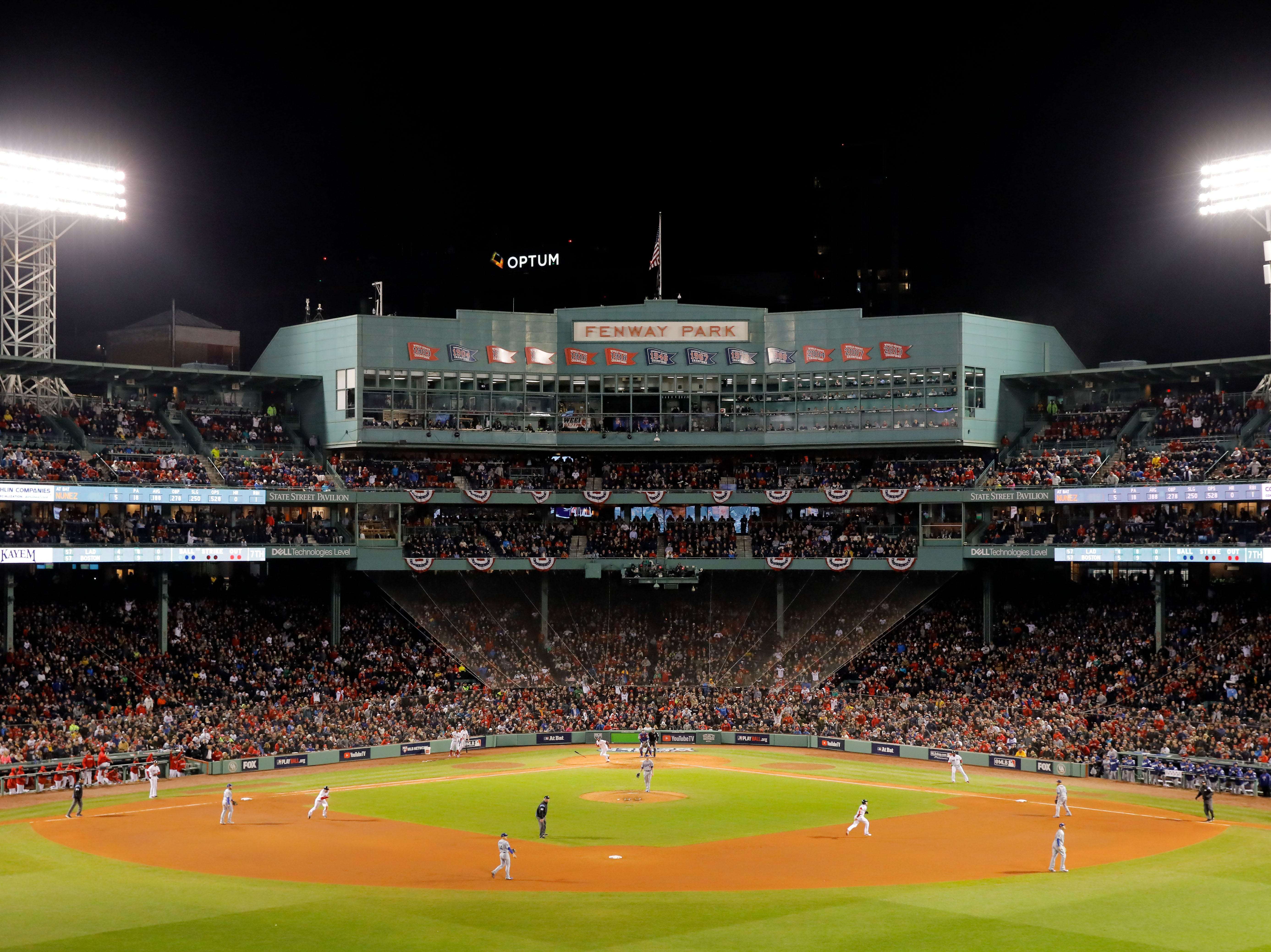Game 1 at Fenway Park: A view of the stadium on Eduardo Nunez's homer in the seventh.