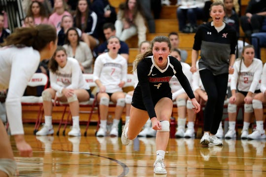 Hortonville's Makenna Krause (4) shouts to a teammate in a WIAA volleyball Division 1 sectional semifinal against Kimberly on Oct. 25 in Green Bay.