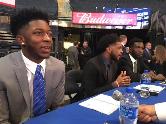 Seton Hall sophomore Myles Cale (left) talks at Big East media.