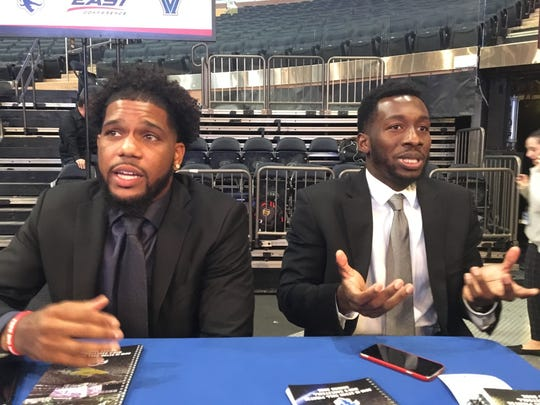 Seton Hall's Myles Powell (left) and Mike Nzei at Big East media day