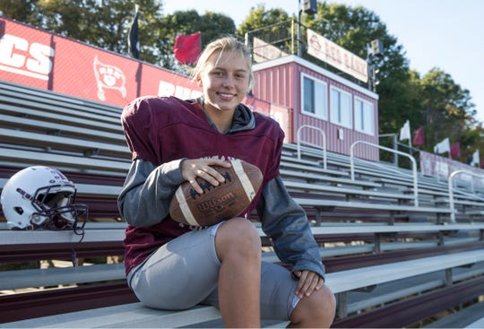 Liva Helt is an elite female soccer player who now plays football as a kicker for the varsity team at Red Bank Regional High School. Little Silver, NJThursday, October, 25, 2018
