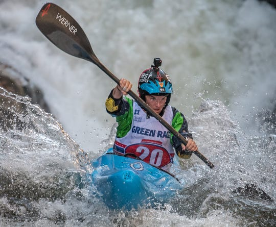 Adriene Levknecht, of Greenville, S.C., is the winningest female paddler in the Green River Narrows Race, which takes place Nov. 3 on the Green River near Saluda. Here she competes in 2016.