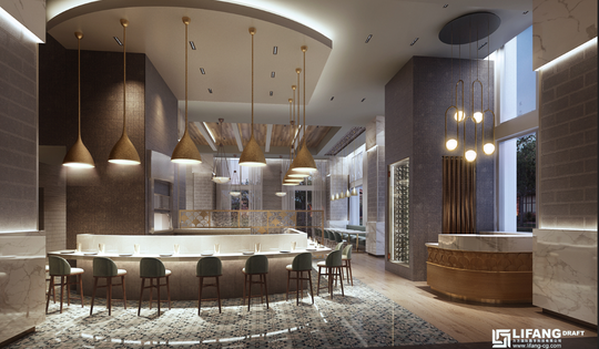 A rendering of the forthcoming Bargello, a Mediterranean restaurant slated to open in the Arras Residences in spring.