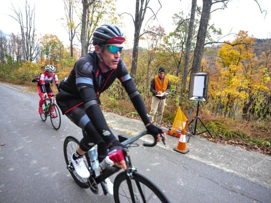 Tour de France veteran, and now retired cyclist George Hincapie, of Greenville, S.C., takes part in the Bookwalter Binge Gran Fondo in 2015. Hincapie returns for the fifth annual Binge bike ride Saturday, Oct. 27, starting at Warren Wilson College.