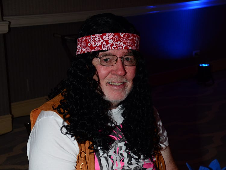 Rick Gotwalt dressed to the theme Saturday during the Family Partnership's 4th Annual Decades in Revue Lip Sync Battle benefit held at the Melbourne Hilton Rialto. (photo by Tony Dees/for Florida Today)