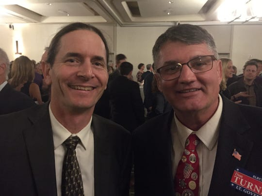 Lt. Gov. David Zuckerman, left, and House minority leader Don Turner Jr. at the Lake Champlain Regional Chamber of Commerce dinner on Wednesday, Oct. 24, 2018, at the Hilton in Burlington. Zuckerman, P/D. and Turner, R, are running against each other for lieutenant governor.