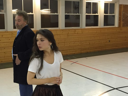 """Bruce Campbell and Grace Experience rehearse a scene from """"The Turn of the Screw"""" on Oct. 15, 2018 at Weybridge Elementary School."""