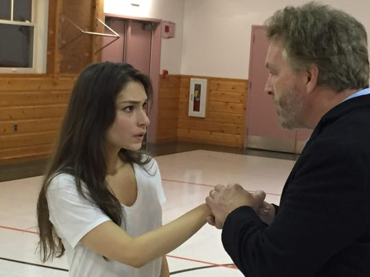 """Grace Experience and Bruce Campbell rehearse a scene from """"The Turn of the Screw"""" on Oct. 15, 2018 at Weybridge Elementary School."""