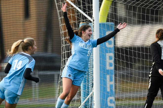 South Burlington's Bella Nevin (9) celebrates a goal during the girls playoff game between the St. Johnsbury Hilltoppers and South Burlington Wolves at Munson Field on Wednesday afternoon October 24, 2018 in South Burlington.