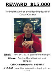 A reward flyer for information on Colton Cavazos' murder.