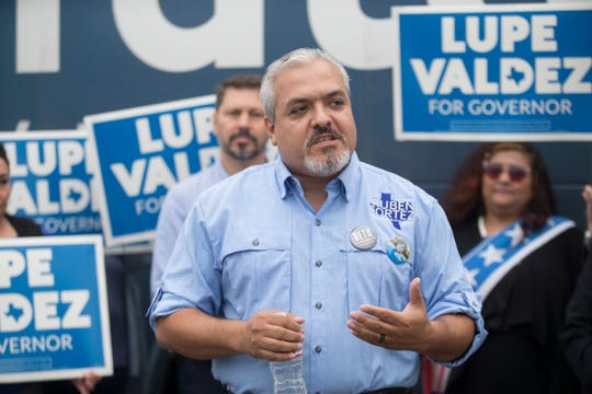 Ruben Cortez Jr., State Board of Education member for District 2, during a campaign event fo Lupe Valdez on Thursday, Oct. 25, 2018 at the Dead and Hard of Hearing Center.