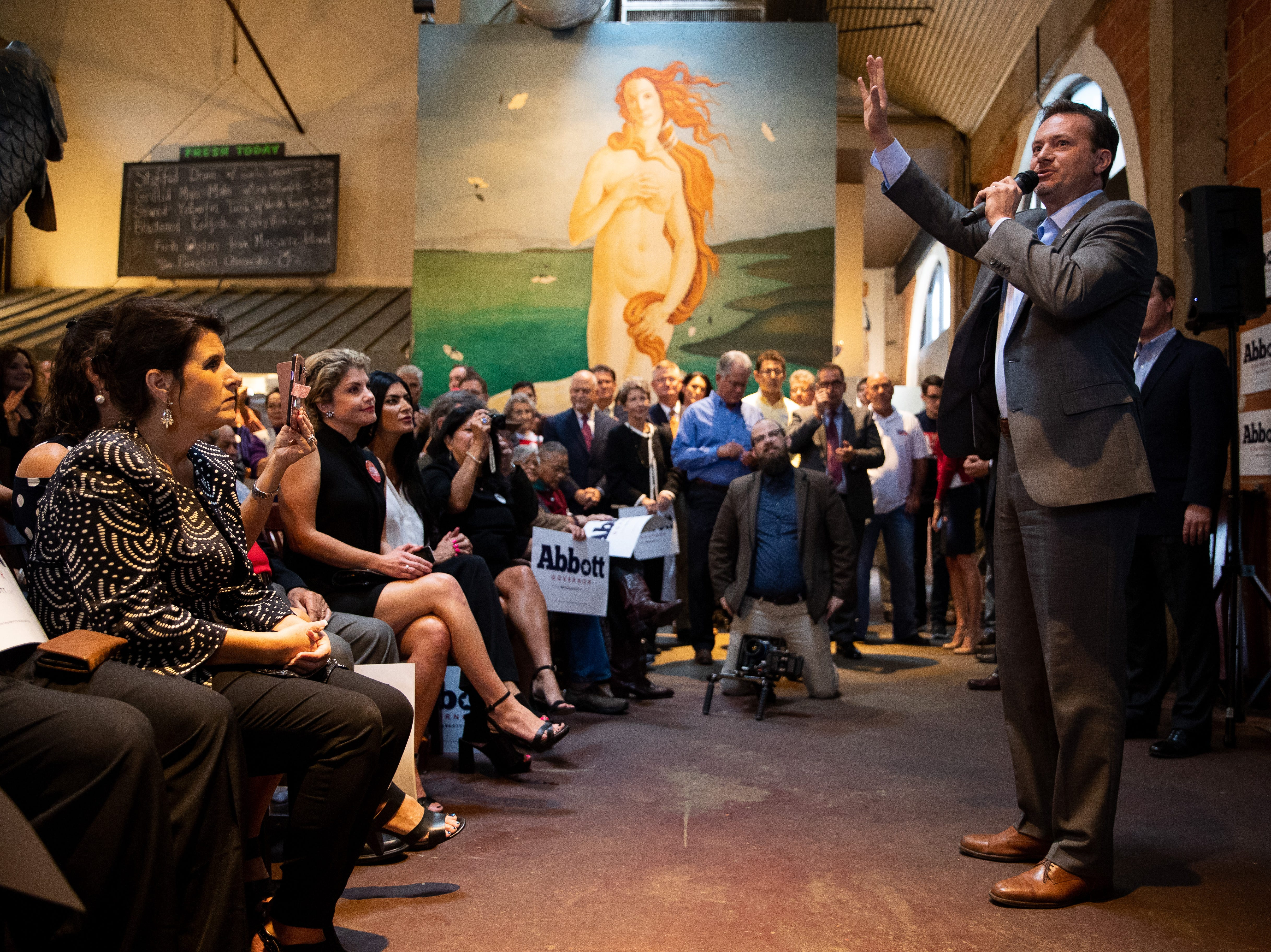 U.S. Rep. Michael Cloud T.X speaks at a Get Out the Vote stop in Corpus Christi at Water Street Oyster Bar on Thursday, Oct. 25, 2018.