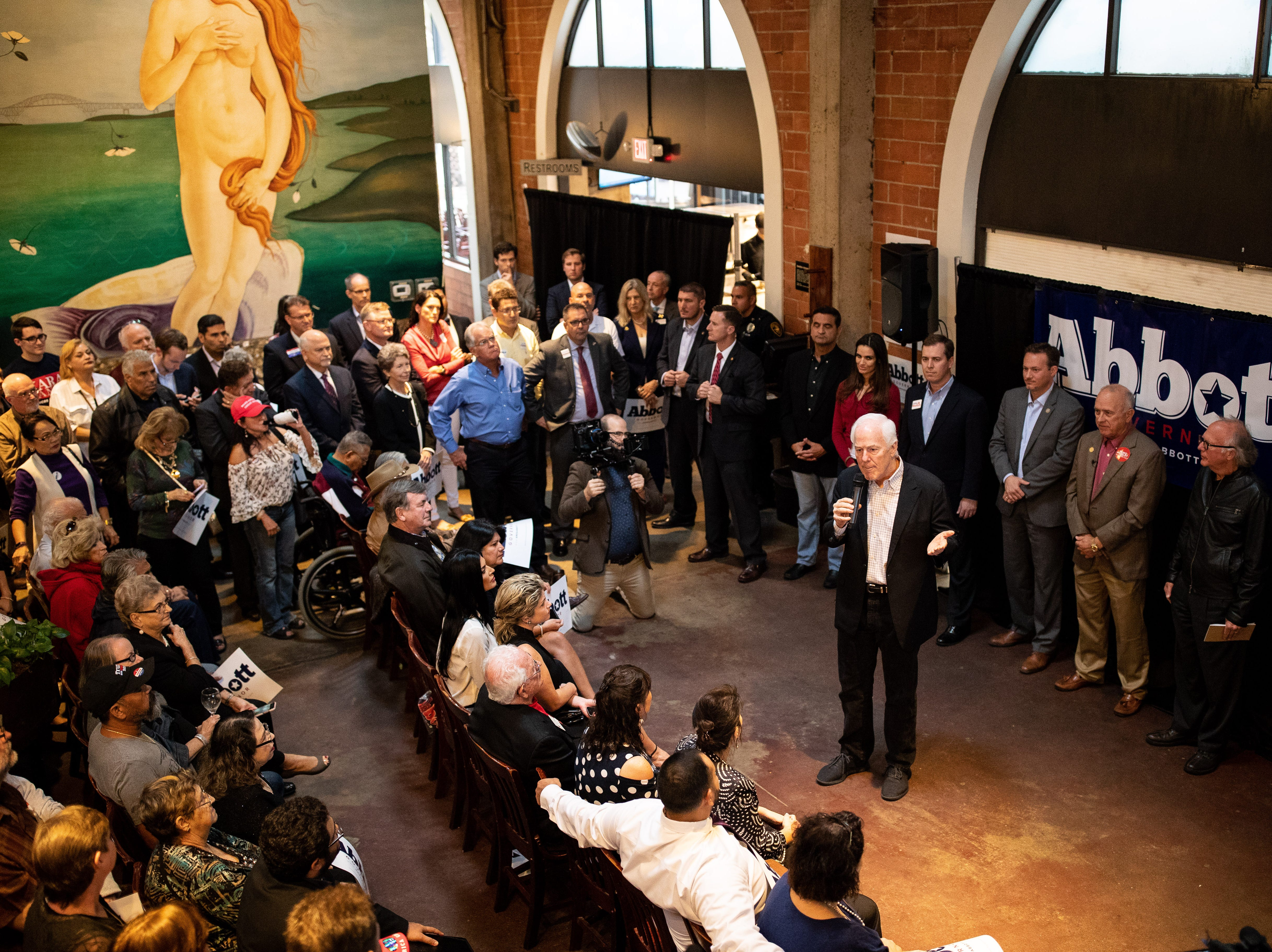 U.S. Sen. John Cornyn T.X speaks at a Get Out the Vote stop in Corpus Christi at Water Street Oyster Bar on Thursday, Oct. 25, 2018.
