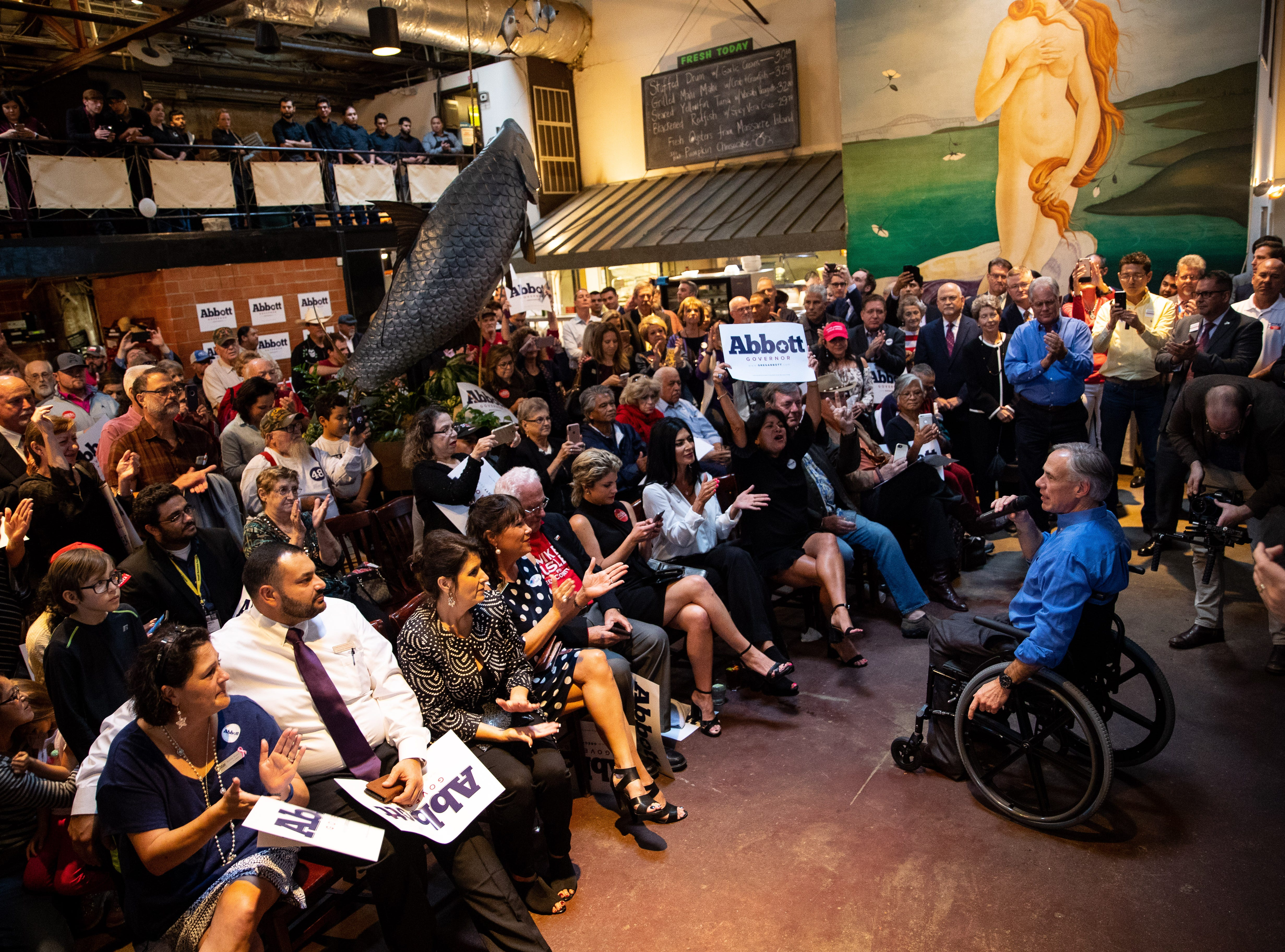 Texas Gov. Greg Abbott speaks at a Get Out the Vote stop in Corpus Christi at Water Street Oyster Bar on Thursday, Oct. 25, 2018.