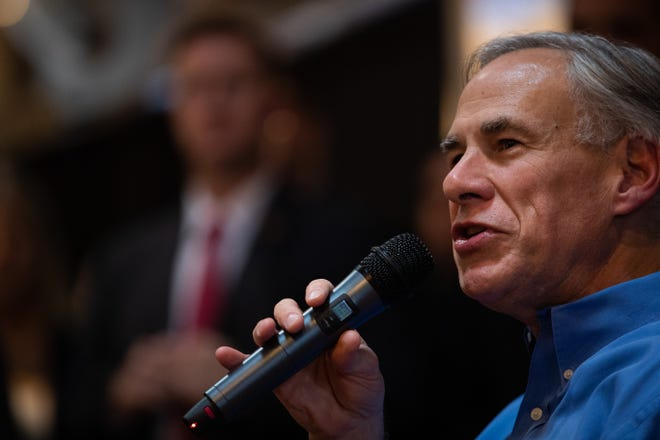 Texas Gov. Greg Abbott speaks at a voter rally.
