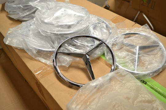 This Mercedes-Benz emblem glitters, but it's not the real thing, according to U.S. Customs and Border Protection.