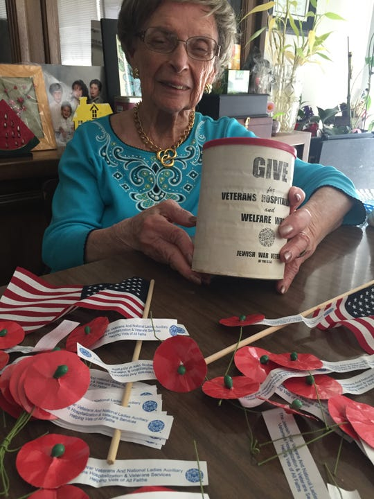 World War II veteran May Brill, 94, of Cherry Hill has helped raise thousands of dollars during Poppy Drives of Jewish War Veterans Post 126 to aid disabled veterans and other veteran welfare causes