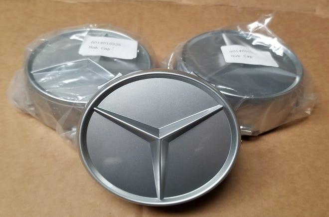Authorities allege counterfeit Mercedes-Benz parts, including these hubcaps, were recently shipped from China to Philadelphia.