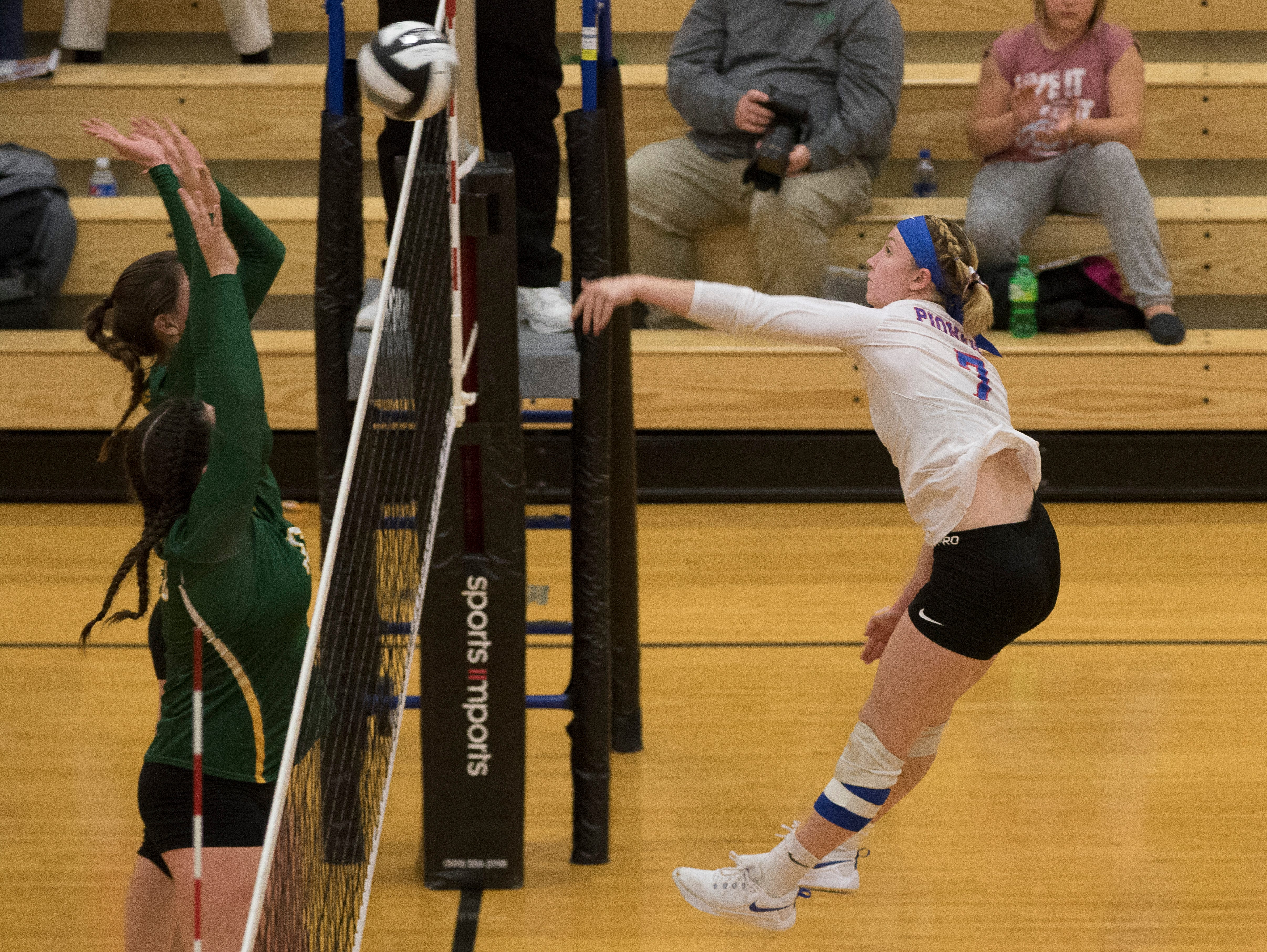 Zane Trace's Evie Bennett spikes a ball against North Adams Wednesday night at Waverly High School. Zane Trace will battle Southeastern in a Division III district finals match Saturday.
