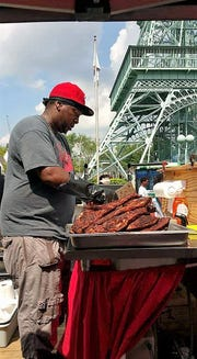 Anton Gaffney working the grill at Kings Island.