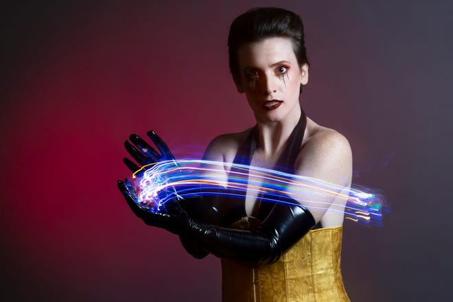 """Katie Mitchell plays Evie in """"In Love and Warcraft,"""" running Nov. 3-18 at The Carnegie in Covington. Evie is an avid gamer who also loves cosplay, as seen in this photo. But real life has a way of confusing her."""