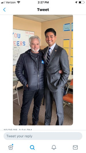 Screenshot from a photo Bradley Whitford tweeted Thursday with Democratic Congressional Candidate Bradley Whitford