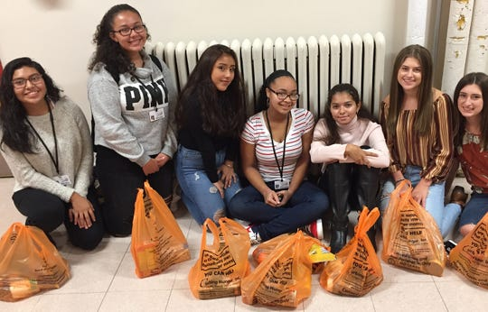 Members of the BBHS Interact Club and Robotics team helped collect donations for the districtwide food drive in September. (Left to right) Araceli Priego, Yuliana Acuna, Belinda Uribe, Amari Tukes, Lily Ugalde, Jordan Clarida and Taylor Clarida.