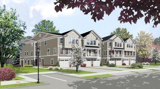 An architectural rendering of the townhomes in Dunellen Station