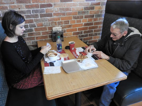 Jennifer Austin and her father, David Ricketts, have lunch for the first time at the new Ridgewood General Store. They both ordered the daily special of beef vegetable soup and a fried bologna sandwich.