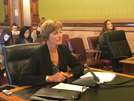 Janet Phipps, director of the Iowa Department of Administrative Services, testifies about proposed anti-sexual harassment rules at the Iowa Capitol on Thursday, Oct. 25, 2018.