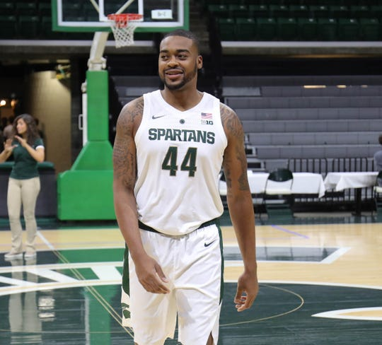 Nick Ward on the court Thursday at Breslin Center.