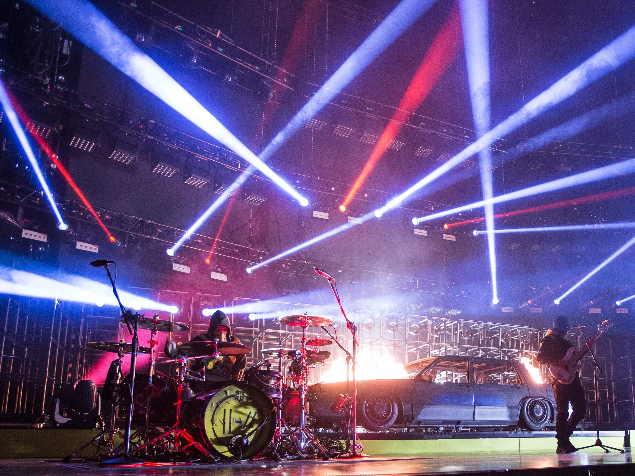 Twenty One Pilots performs during The Bantido Tour at Little Caesars Arena in Detroit, Wednesday, Oct. 24, 2018.