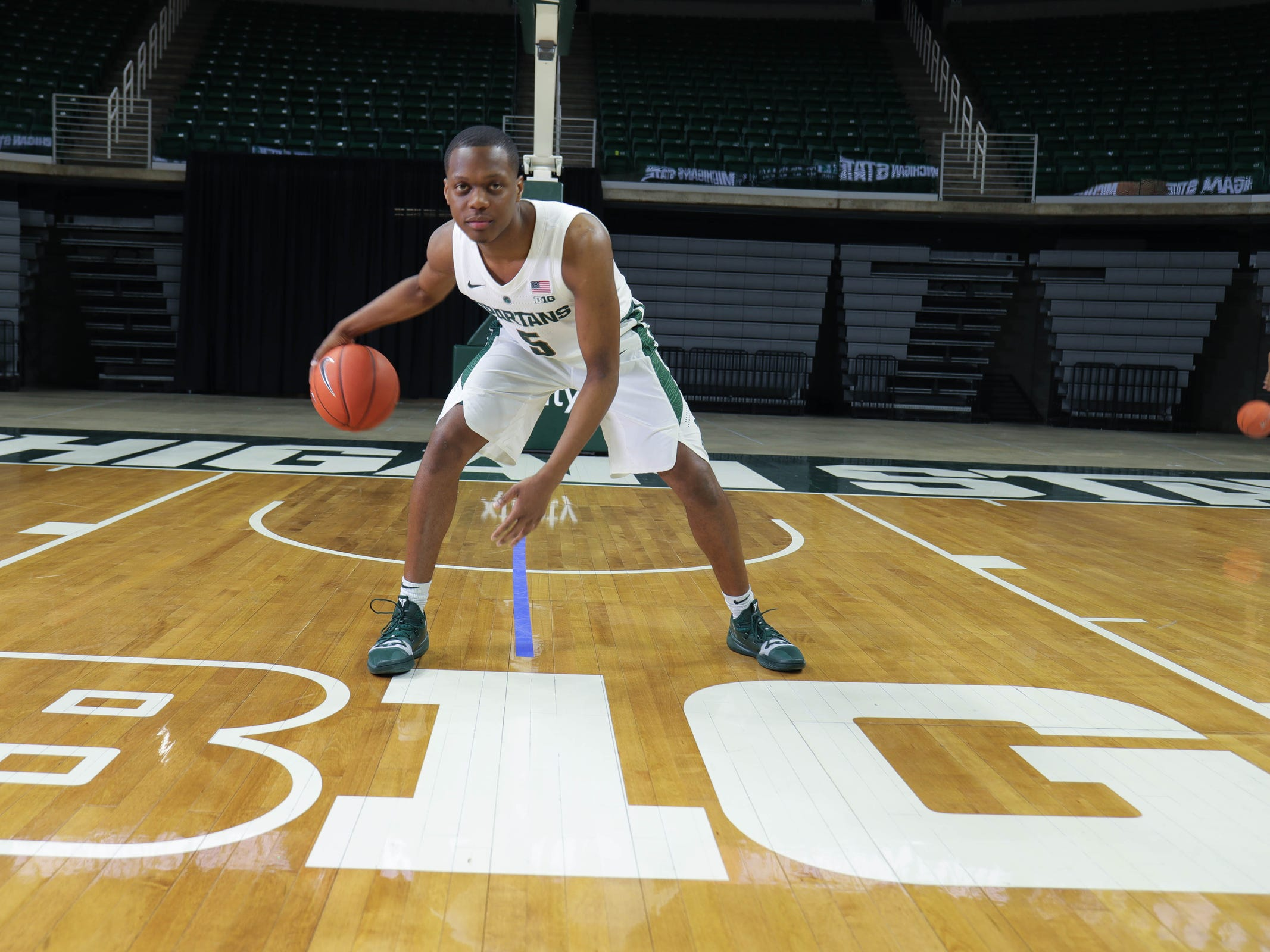 Michigan State guard Cassius Winston at media day Thursday, Oct. 25, 2018 at Breslin Center in East Lansing.