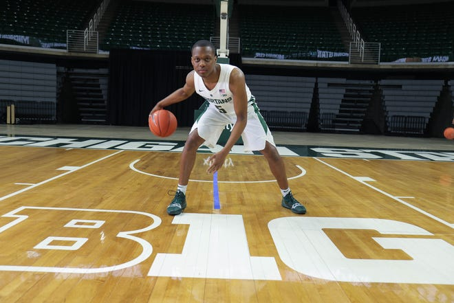 Michigan State guard Cassius Winston at media day Oct. 25 at Breslin Center in East Lansing.