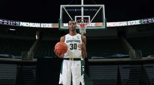 Michigan State forward Marcus Bingham Jr. at media day Thursday, Oct. 25, 2018 at Breslin Center in East Lansing.