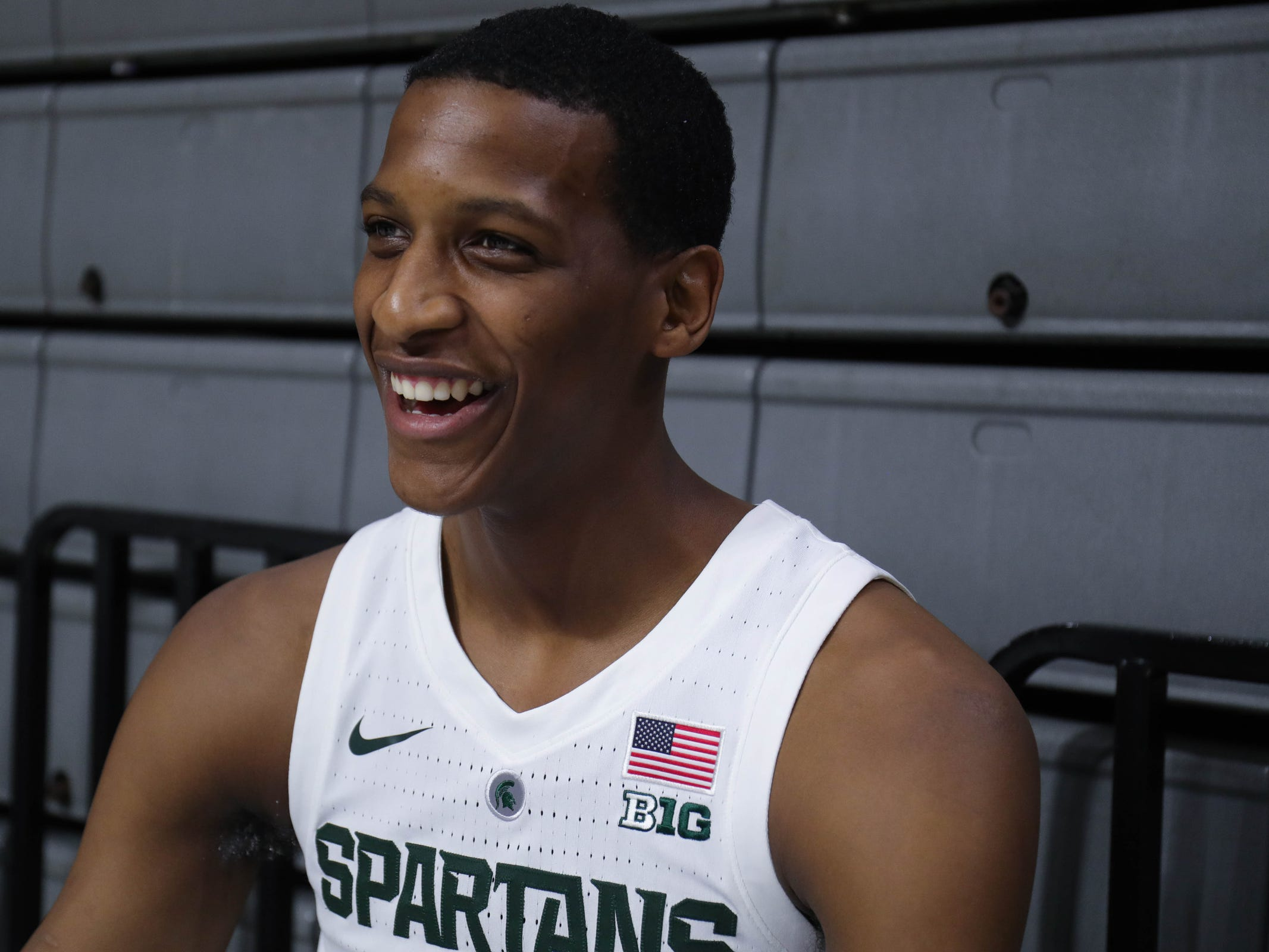 Michigan State forward Marcus Bingham Jr. talks with reporters at media day Thursday, Oct. 25, 2018 at Breslin Center in East Lansing.