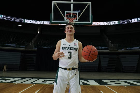 Michigan State guard Foster Loyer at media day Thursday, Oct. 25, 2018 at Breslin Center in East Lansing.