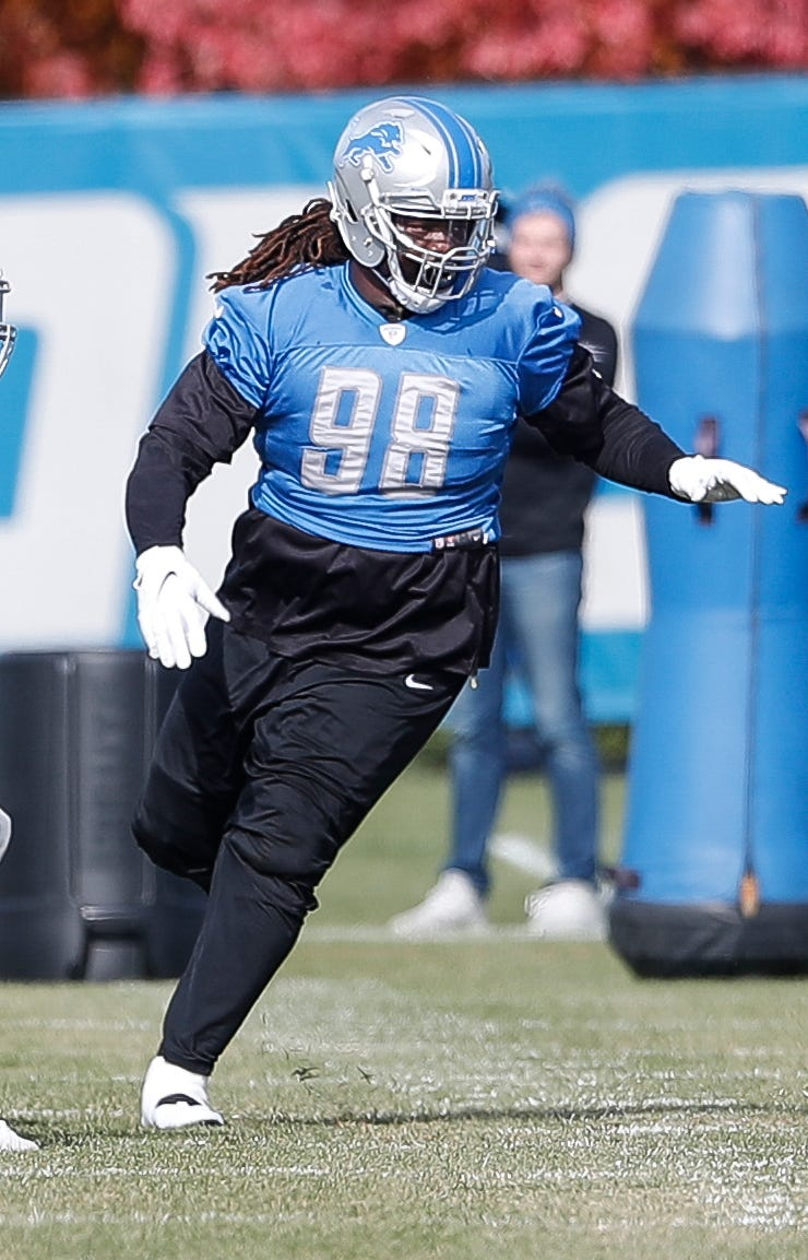 Lions defensive tackle Damon Harrison during practice at the Lions practice facility in Allen Park on Thursday, Oct. 25, 2018.