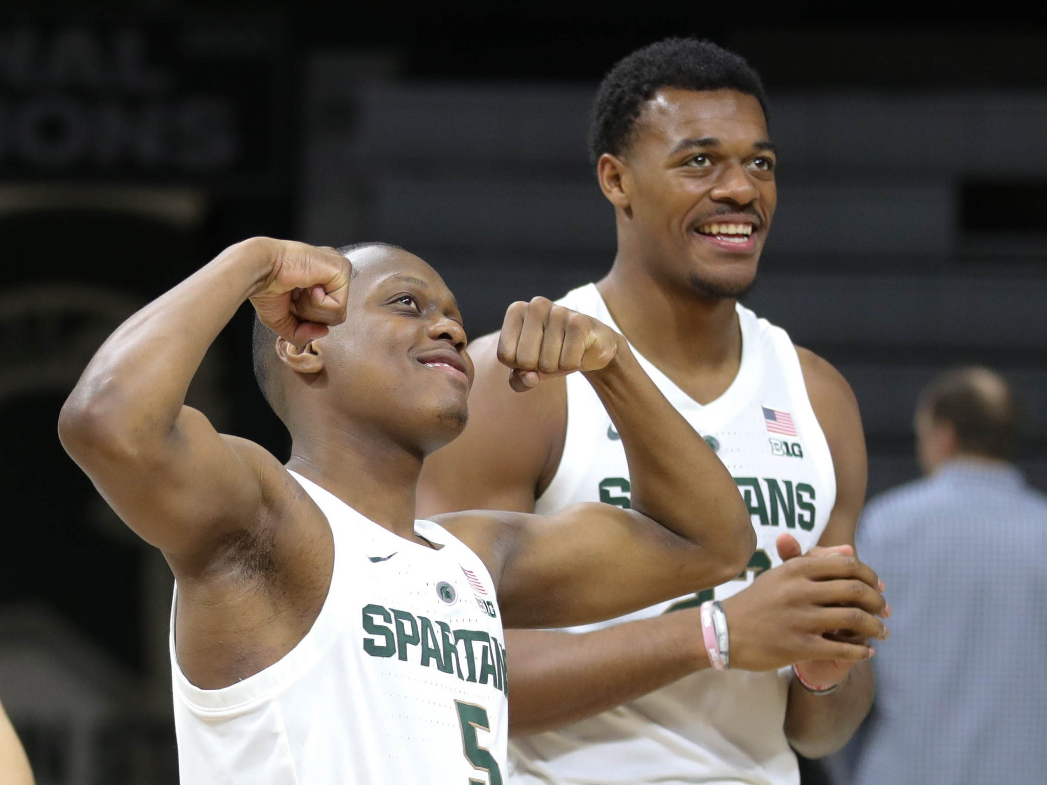 Michigan State guard Cassius Winston, left, and Xavier Tillman have a little fun during media day Thursday, Oct. 25, 2018 at Breslin Center in East Lansing.