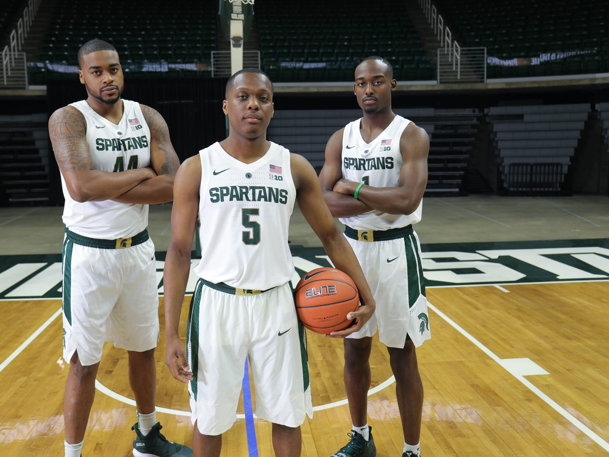 Michigan State's Cassuis Winston (5) Nick Ward (44) and Joshua Langford (1) at media day Thursday, Oct. 25, 2018 at Breslin Center in East Lansing.