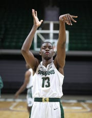 Michigan State forward Gabe Brown shoots free throws at media day Thursday, Oct. 25, 2018 at Breslin Center in East Lansing.