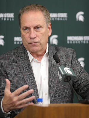 Tom Izzo talks with reporters about the upcoming season Thursday at the Breslin Center.