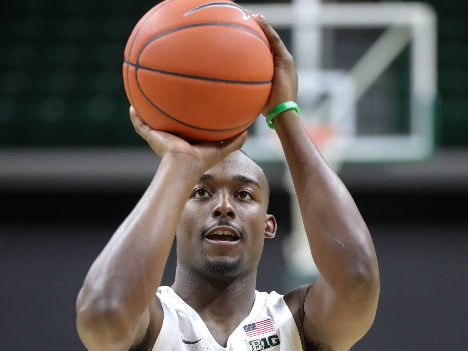 Michigan State guard Joshua Langford shoots free throws at media day Thursday, Oct. 25, 2018 at Breslin Center in East Lansing.