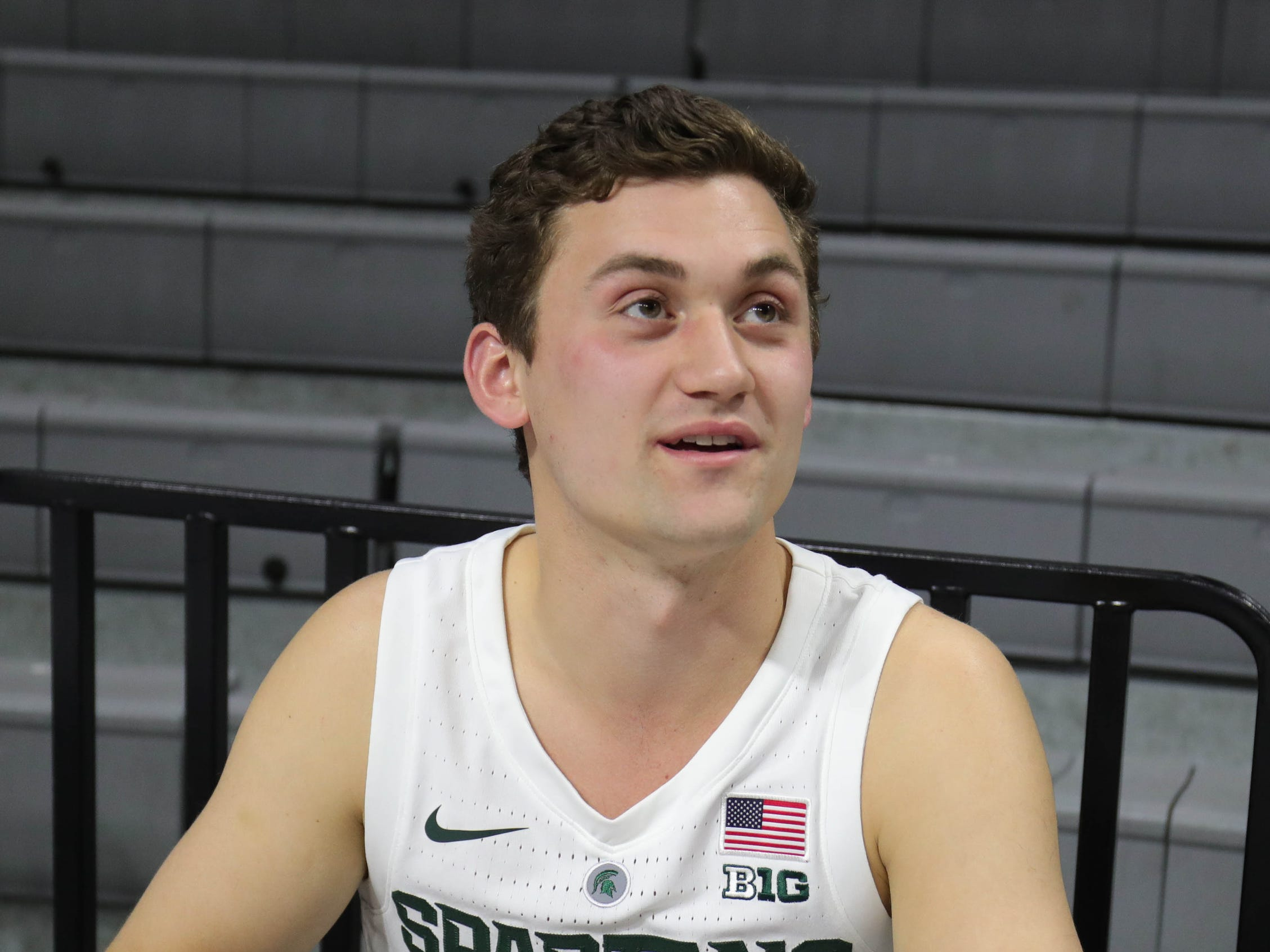 Michigan State guard Foster Loyer talks with reporters at media day Thursday, Oct. 25, 2018 at Breslin Center in East Lansing.