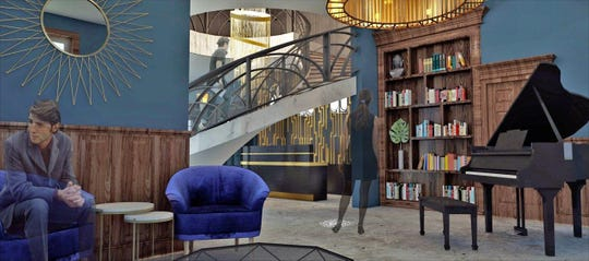 """A rendering of the lobby of The Reef's new marijuana cultivation, processing and procurement center in southwest Detroit. The Reef hopes to make the door that separates the dispensary's lobby from the """"budroom,"""" where customers select and purchase their cannabis, a revolving bookshelf."""