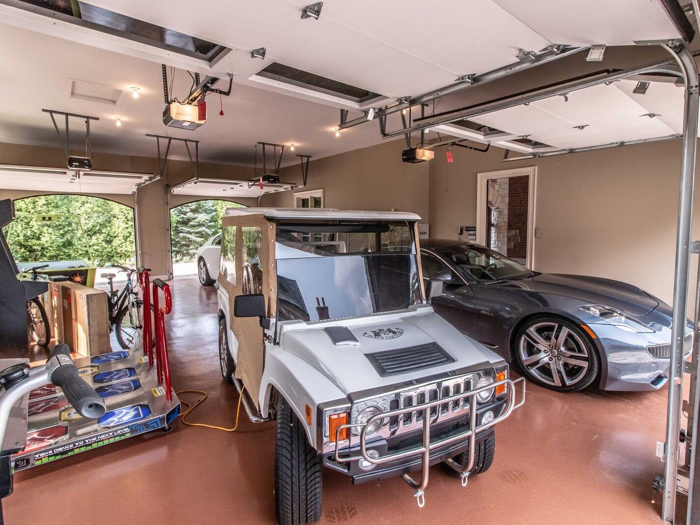 Inside the eight-car garage.