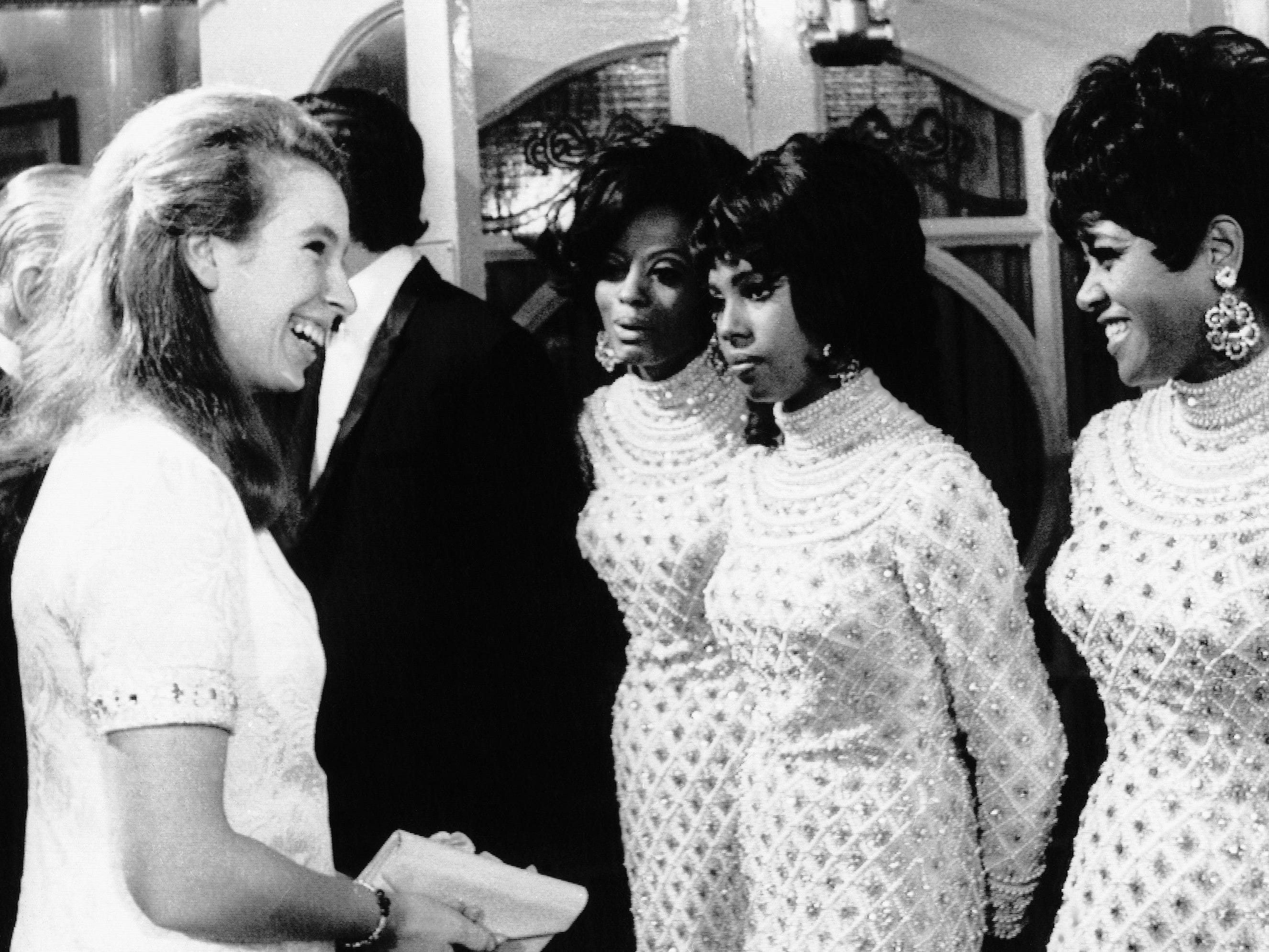 Princess Anne of Great Britain talks with the Supremes after their royal variety performance at the London Palladium on Nov. 18, 1968. During the performance, Ross made an impassioned plea for racial tolerance, which received a mixed reception.