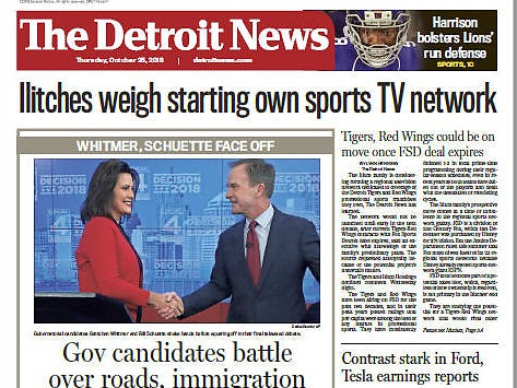 The front page of The Detroit News on October 25, 2018.
